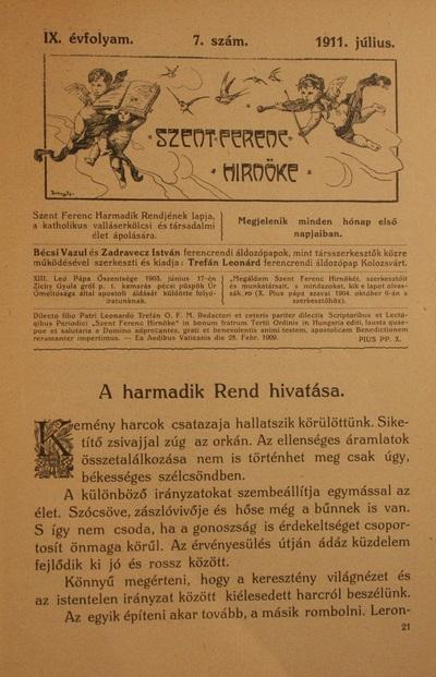 Szent Ferenc Hírnöke 1911. július