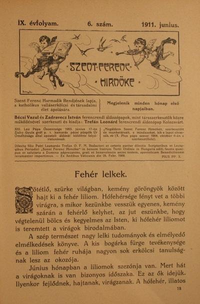 Szent Ferenc Hírnöke 1911. június