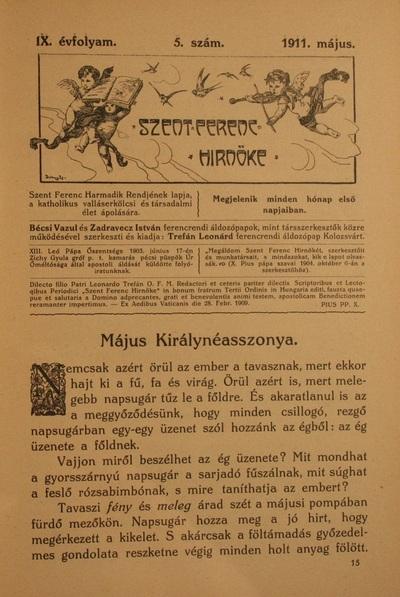 Szent Ferenc Hírnöke 1911. május