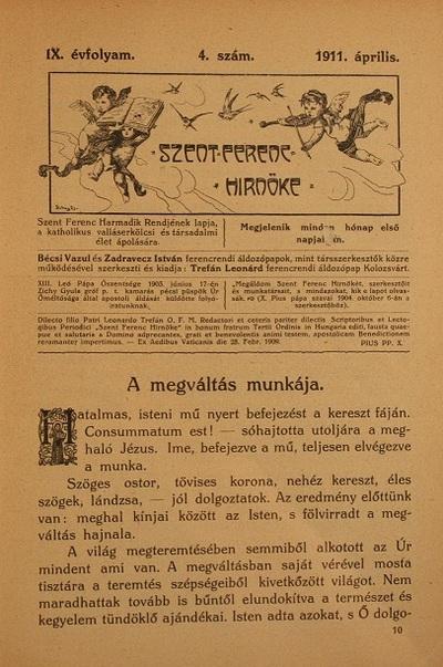 Szent Ferenc Hírnöke 1911. április