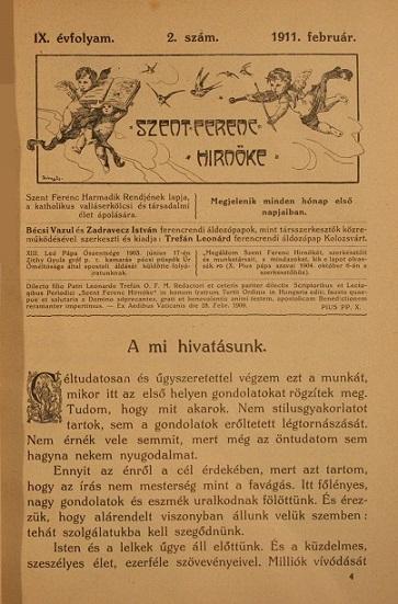 Szent Ferenc Hírnöke 1911. február