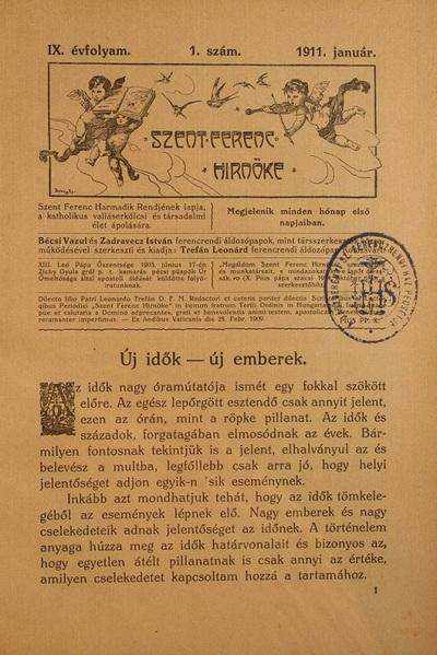 Szent Ferenc Hírnöke 1911. január
