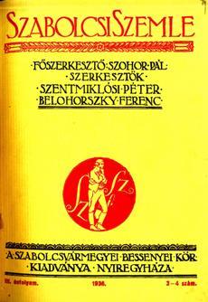 Szabolcsi Szemle 1936 3 4