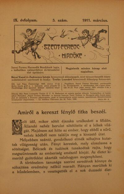 Szent Ferenc Hírnöke 1911. március