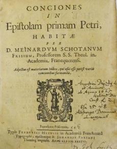 SCHOTANUS, Meinardus / Conciones in Epistolam primam  Petri