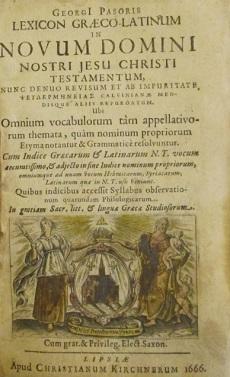 PASORUS, Georgius / Georgi Pasoris NOVUM DOMINI