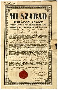 Alszeghy József pesti polgárlevele, 1847