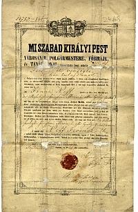 Neff Ferenc vendéglő és háztulajdonos pesti polgárlevele, 1846