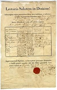 Keresztelési anyakönyvi kivonat - Zichy Heléna Crescencia, Buda, 1835