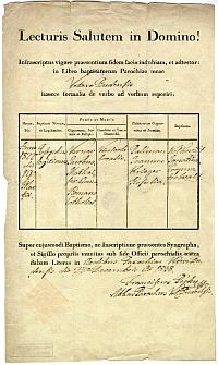 Keresztelési anyakönyvi kivonat - Verner József, Óbuda, 1838