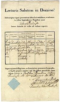 Keresztelési anyakönyvi kivonat - Kohlenberger Krisztián, Óbuda, 1839 (1818)