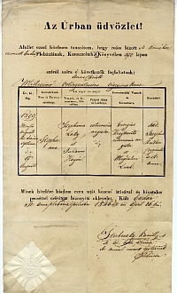 Keresztelési anyakönyvi kivonat - Laky István, Buda, 1846