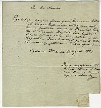 Igazolás Andrelich Ferenc keresztelési anyakönyvének kiadásáról, Buda, 1820