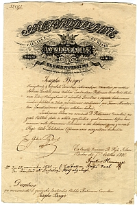 Berger József kinevezése kamarai mérnökké, 1840