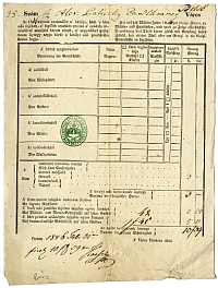 Baliczky Sándor kereskedő adóíve, Belváros, 1846
