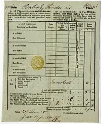 Baliczky Sándor kereskedő adóíve, Belváros, 1847