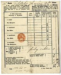 Baliczky Sándor kereskedő adóíve, Belváros, 1848