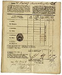 Baliczky Sándor kereskedő adóíve, Belváros, 1849