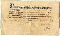 Pestre áttelepülési engedély Andreas Messerer bádogos részére, Karlsbad, 1820
