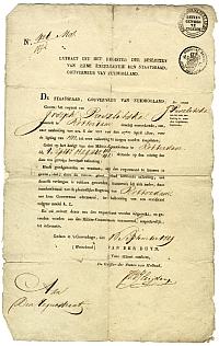 Preszlitska József beutazási engedélye Rotterdamba, Hága, 1829