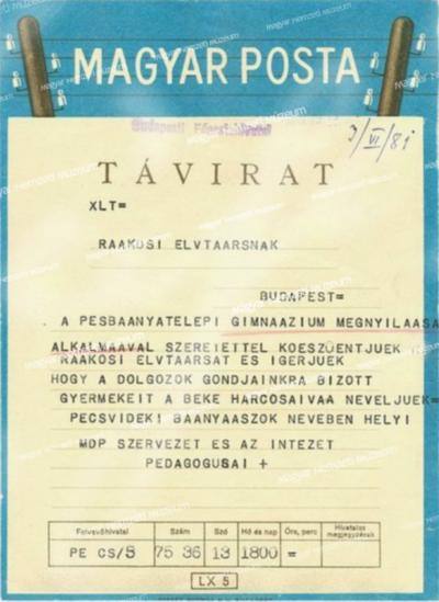 Fogadalmak tanulmányi ügyekben Rákosi Mátyás részére