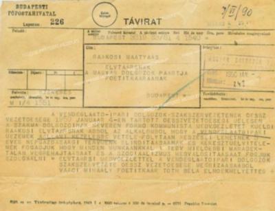Táviratok államosítás alkalmából és folytatásáról, hadifoglyok hazaszállíttatásáról