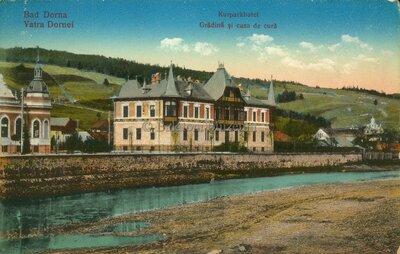 Bad Dorna. Kurparkhotel - Vatra Dornei. Grădina și casa de cură