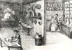 Mézeskalácsos műhelyt és boltot ábrázoló metszet, repró