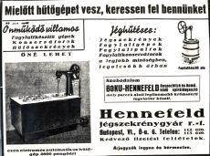 Hennefeld jégszekrénygyár reklámja, repró