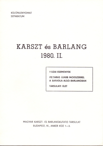 Karszt és Barlang 1980. II.