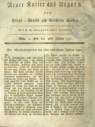 Neuer Kurier aus Ungarn von Kriegs- Staats und Gelehrten Sachen