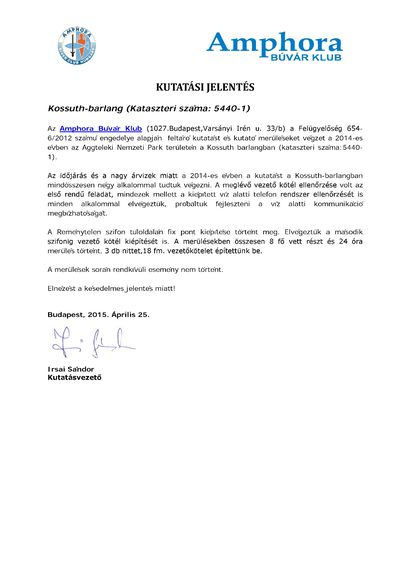 Kutatási jelentés Amphora Búvár Klub