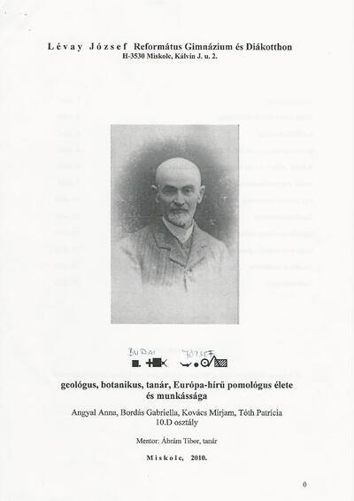 Budai József geológus, tanár, Európa-hírű pomológus élete és munkássága