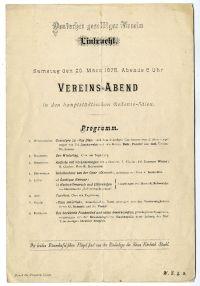 Meghívó a Deutscher geselliger Verein egyleti estjére a Vigadóban, 1875
