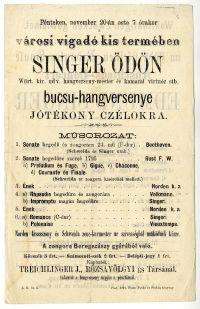 Singer Ödön búcsúhangversenye a Vigadóban, 1868