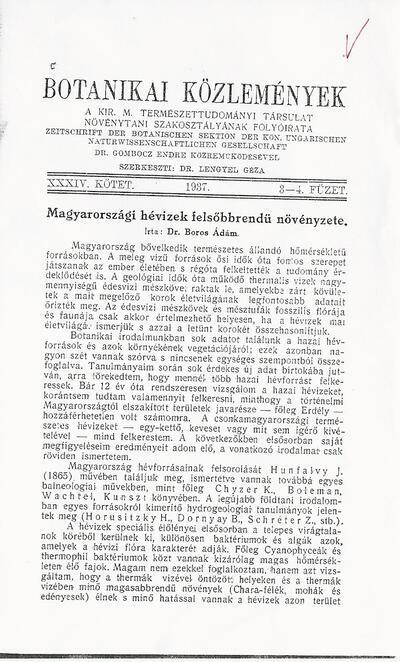 Botanikai Közlemények - Magyarországi hévizek felsőbbrendű növényzete