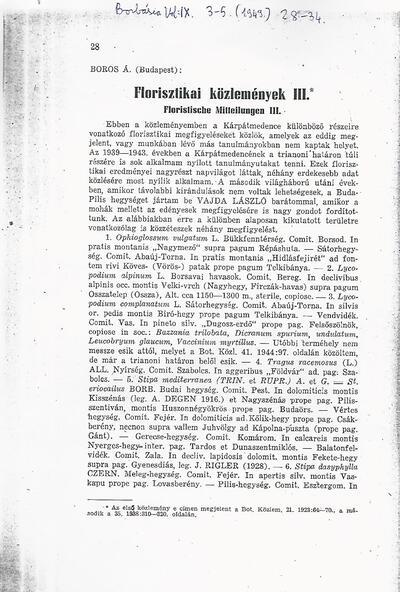 Florisztikai közlemények III.