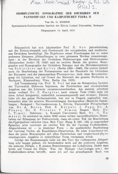 Geobotanische Monographie der Orchideen der Pannonischen und Karpatischen Flora II.