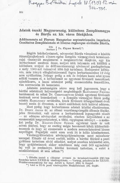 Adatok északi Magyarország, különösen Zemplén megye és Bártfa sz. kir. város flórájához