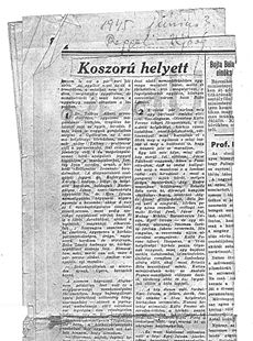 Koszorú helyett - újságcikk 1945.