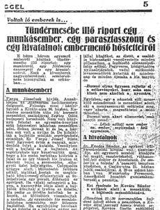 Tündérmesébe illő riport egy munkásember, egy parasztasszony és egy hivatalnok életmentő hőstetteiről - újságcikk 1945.