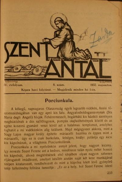Szent Antal 1932. augusztus