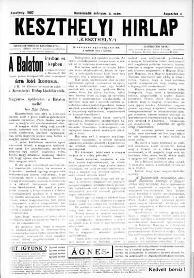 Keszthelyi Hírlap 1907.08.04.