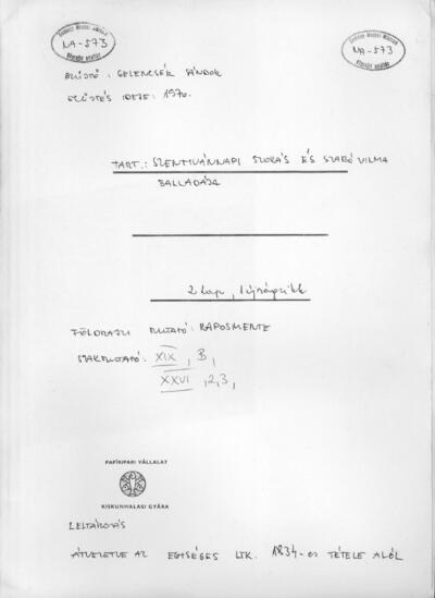 Szentivánnapi szokás és Szabó Vilma balladája. NA-573