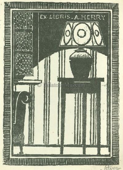 Ex libris A. Herry feliratú kisgrafika