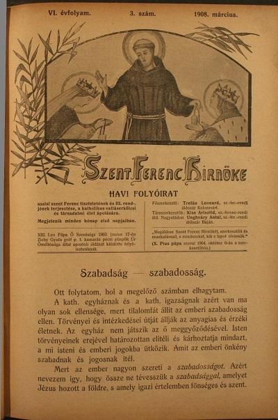 Szent Ferenc Hírnök 1908. március