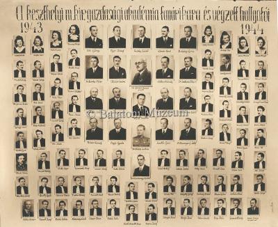 A Királyi Gazdasági Akadémia hallgatói az 1943-44-es tanévben