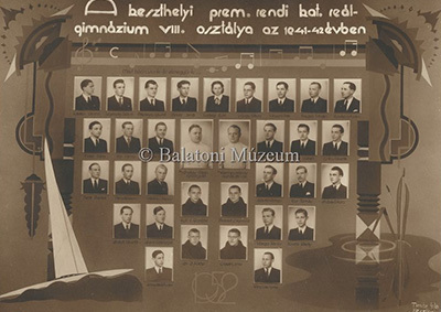 A Reálgimnázium 8.osztálya az 1941-42-es tanévben
