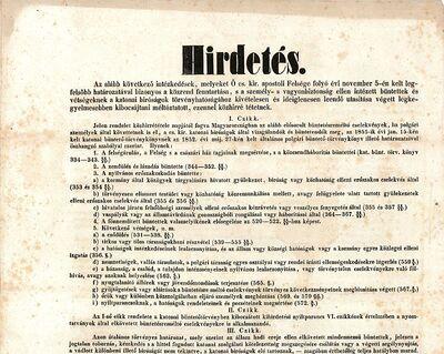 Hirdetés az újonnan bevezetett törvénycikkelyekről, kétnyelvű, 1861