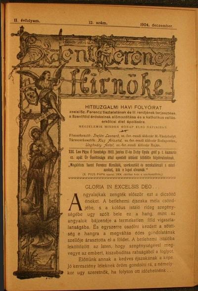 Szent Ferencz hírnöke 1904. december